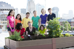 Youth Squad Volunteers Plant Rooftop Garden