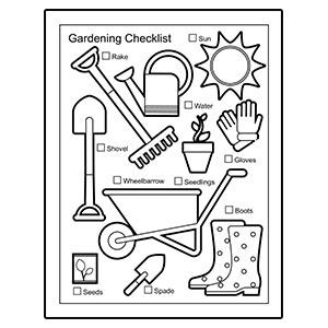 Gardening Supplies Coloring Page