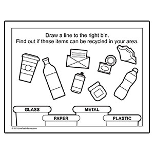 Recycling Coloring Page Worksheet