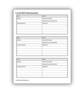 Bird Sanctuary Volunteer Worksheet