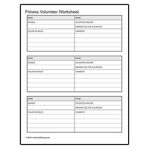Fitness volunteer Worksheet