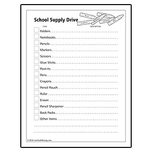 School Supply Drive Checklist