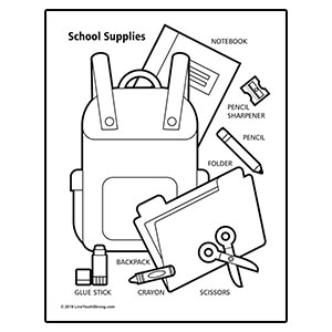 School Supply Drive Coloring Page