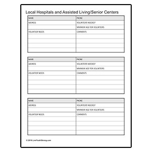 Hospital and Senior Center Volunteer Worksheet