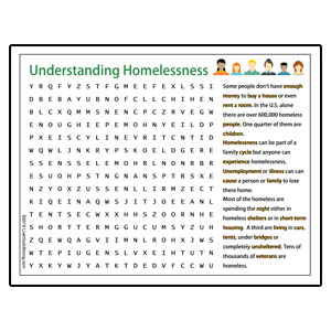 Youth Squad Homelessness Word Search