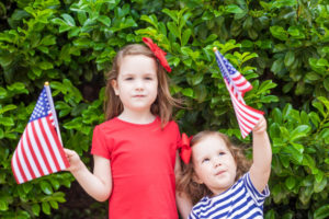 Children Show Respect for the American Flag