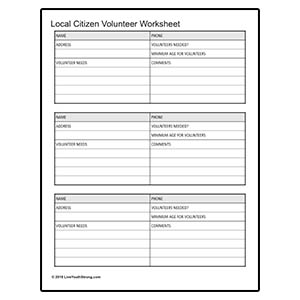 Citizen Volunteer Worksheet