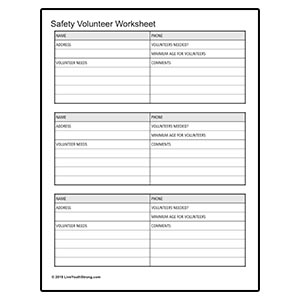 Youth Squad Safety Volunteer Worksheet