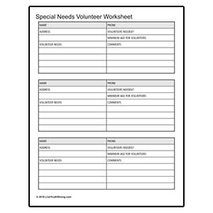 Youth Squad® Special Needs Volunteer Worksheet