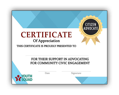Youth Squad® Volunteer Thank You Certificate