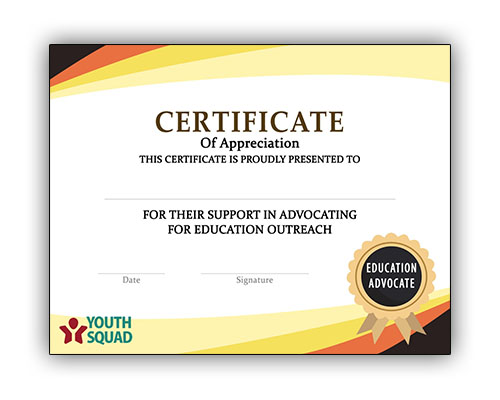 Youth Squad Volunteer Thank You Certificate
